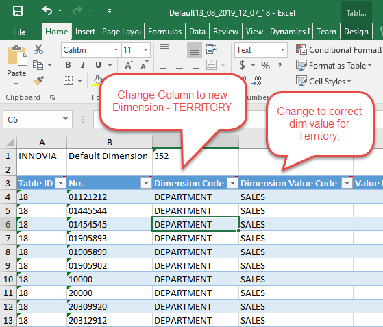 Dimension Code Spreadsheet