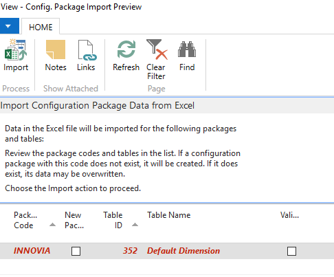 Configuration Package Import Preview