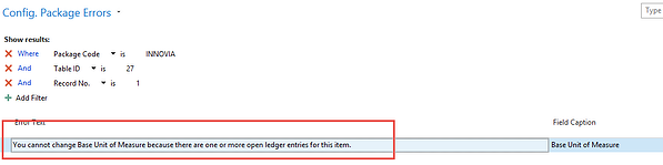 Configuration Package Errors