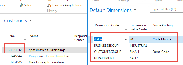Customer Card Default Dimensions