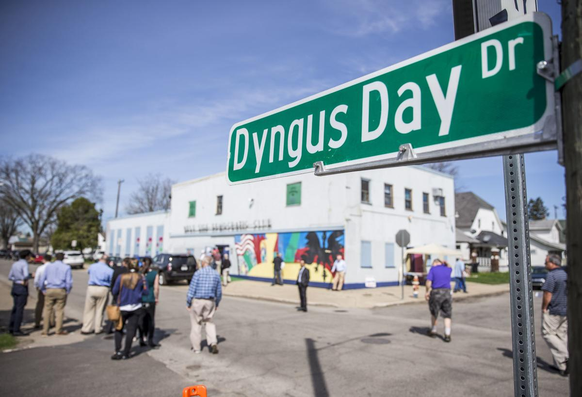 road sign reading Dyngus Day Drive