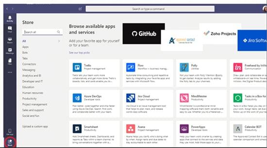 Screenshot of Microsoft Teams Store page