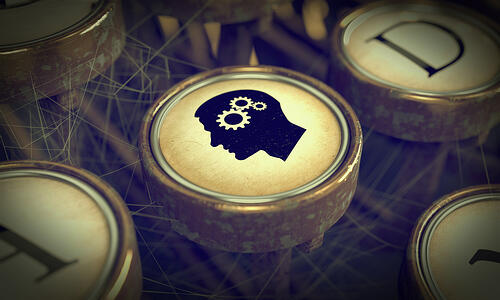 Head With Gears on Old Typewriter Button. Education Concept. Grunge Background for Your Publications.-1