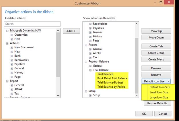 customize profiles dynamics nav 7