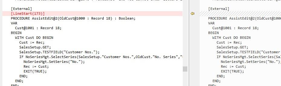 Screenshot of code highlighting LineStart(173)