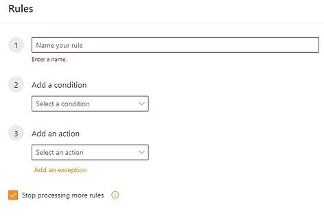 New rule interface for Outlook web app