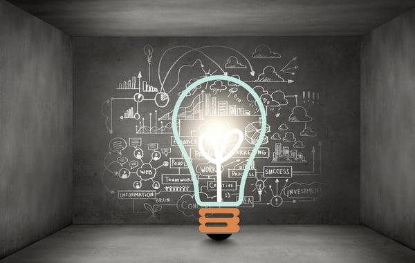 Light bulb and chalkboard