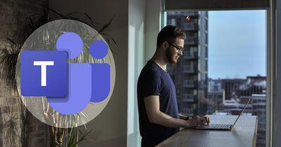 Man working from home in his apartment. Microsoft Teams logo on the left side.