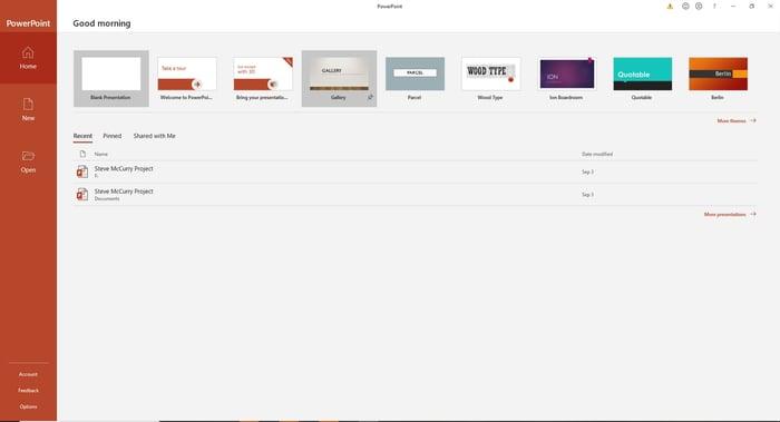 Screenshot of open PowerPoint presentation screen