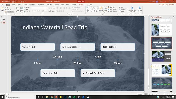 Indiana Waterfall Road Trip PowerPoint Slide with background image