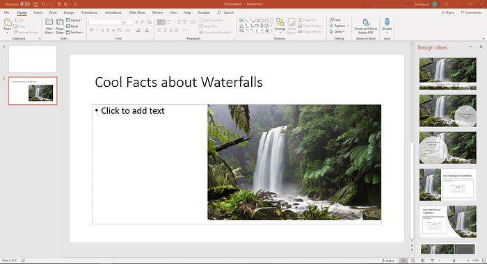 """PowerPoint presentation with photo of a waterfall and text """"Cool Facts about Waterfalls"""""""