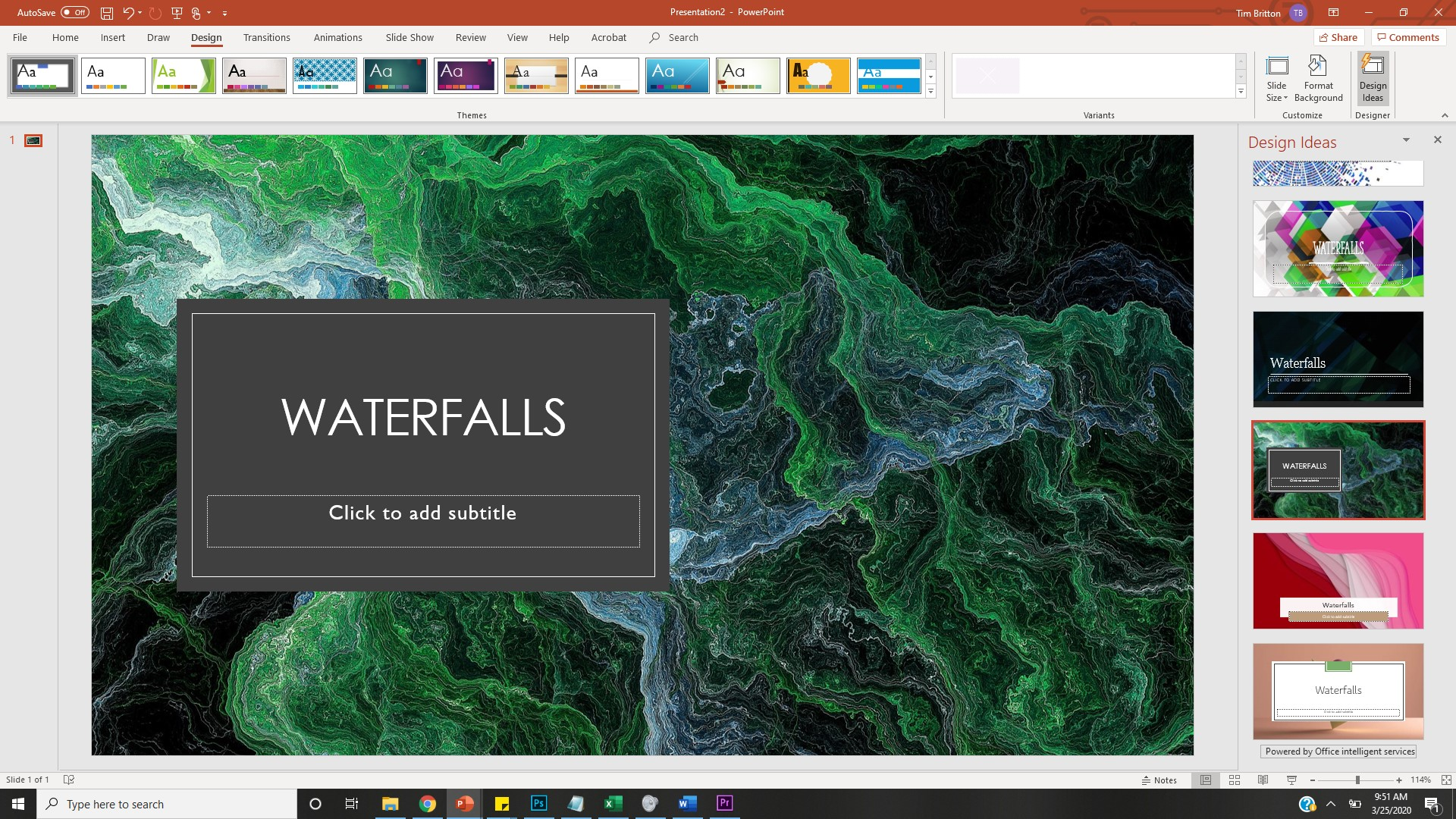 PowerPoint Presentation with Waterfalls as title and topography image background