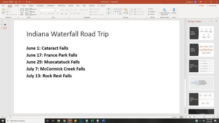 PowerPoint presentation with list of dates and waterfalls