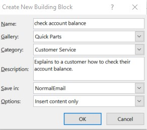 create new building block dialog box in Outlook