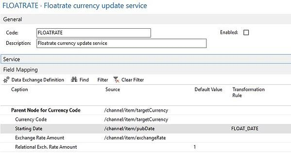 FLOATRATE configuration screen for currency update service screenshot