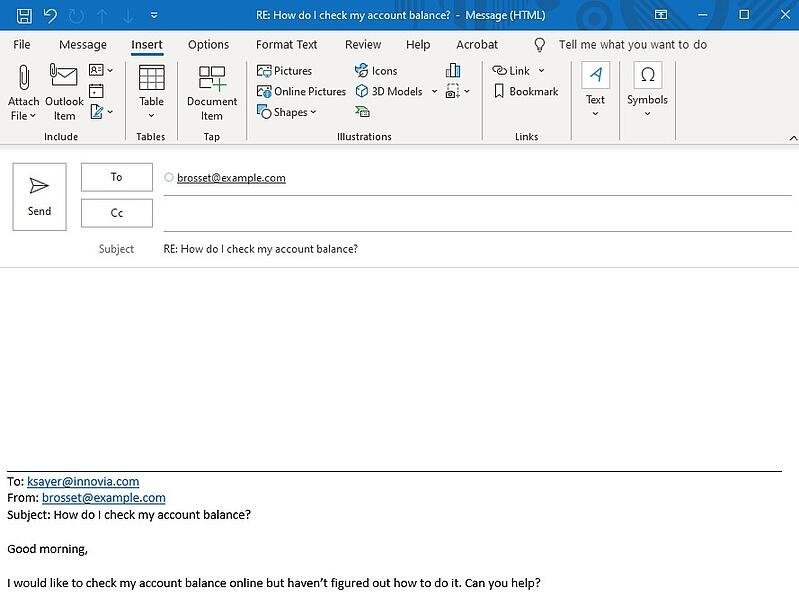 Example of a reply window in Outlook
