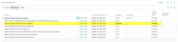 screenshot of feature management