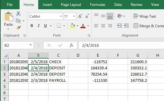 importing a .CSV format file