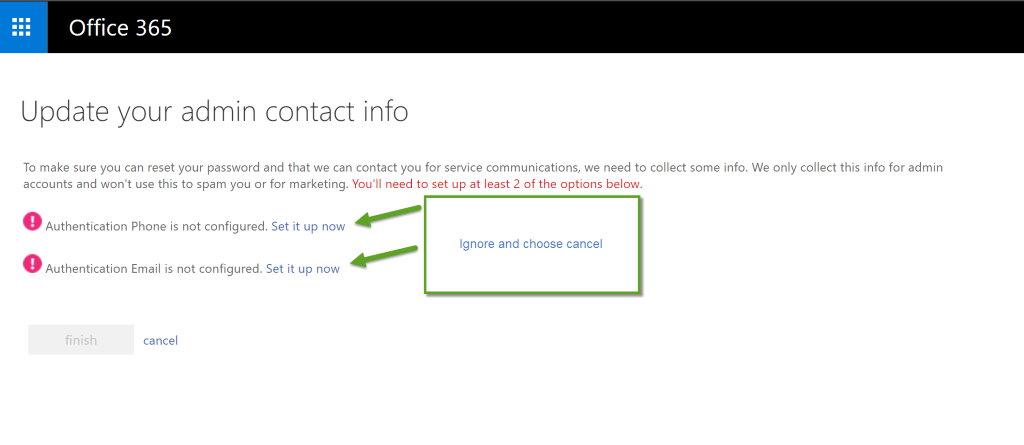 Office 365 Admin Contact Info